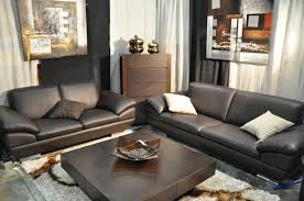 Genuine Leather Living Room Sets Brown Leather Living Room Set With Classic Wooden Table