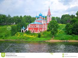 Volga River Map The Church On The Bank Of The Volga River Royalty Free Stock