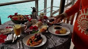 in room dining breakfast overwater bungalow four seasons bora