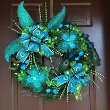 Peacock Blue Christmas Decorations by Shop Peacock Wreath On Wanelo