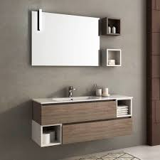 wall hung washbasin cabinet oak contemporary with shelves