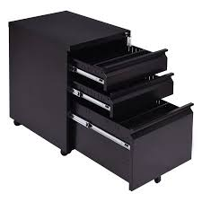 Rolling Metal Cabinet Costway Black 3 Drawers Rolling Mobile File Pedestal Storage