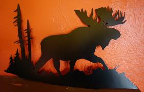moose in forest black cut metal wall art lodge log cabin home