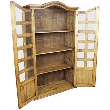 Pine Bookcase With Doors Mexican Pine Bookshelf Cabinet With Two Doors