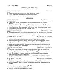 resume template for it intern resume template for internship exle sle templates