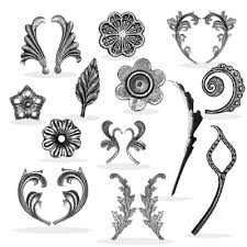 cast iron designs collars floral rosettes leaves