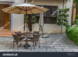 Tuscan Style Patio Furniture Table Food Center Tuscan Style Town Stock Photo 656664817