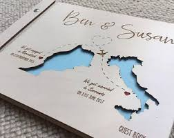 engraved wedding guest book map guest book etsy