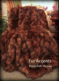 Faux Fox Fur Throw Plush Faux Fur Exotic Brown Wolverine Fur Throw Blanket