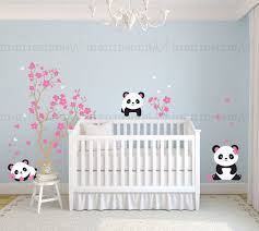 stickers panda chambre bébé pandas and cherry blossom tree panda decal panda vinyl wall decal