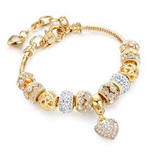 gold bracelet with heart charm images Luxury crystal heart charm pan bracelets bangles gold bracelets jpg