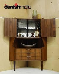 mid century danish modern rosewood corner cabinet hutch bar