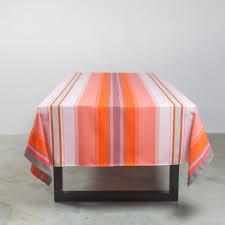 nappe en coton enduit nappe basque rectangle miren à rayures rose orange coton enduit