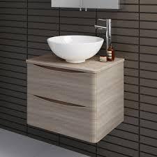 modern oak wall hung bathroom storage vanity unit countertop basin