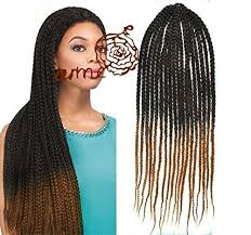 pre braided crochet hair black to honey two colors ombre box braids