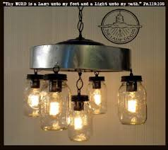 jar chandelier 5 light fixture with chicken wire lamp goods