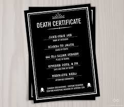 creepy death certificate halloween invitation personalized
