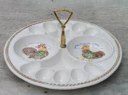 vintage egg plate hen and rooster vintage egg plate california pottery