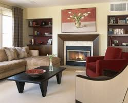 interior casual picture of living room decoration with maroon