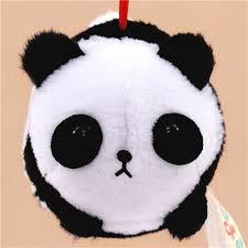 soft black and white panda puchimaru plush charm panda