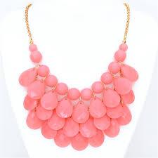 light pink necklace images Light pink teardrop bib necklace by shamelessly sparkly jpg