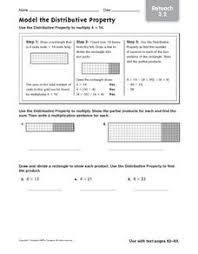 model the distributive property reteach 4th 5th grade worksheet