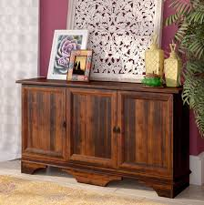 storage cabinet wood buffet 3 door furniture sideboard rustic