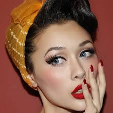 hair and makeup vintage maquillage yeux bleus en style vintage rockabilly make up and