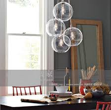 Glass Sphere Pendant Light American Cluster Glass Pendant Transparent Round Ball Glass