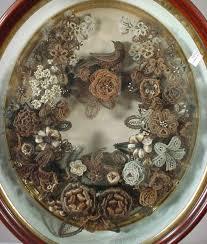 hair wreath hair wreath shadow box in a bell jar