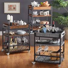 industrial iron wood kitchen trolley natural black buy kitchen this myra rolling serving cart features a weathered timeworn patina