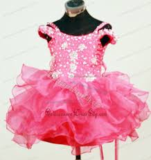 pink rhinestones ruffled pageant dresses for toddlers