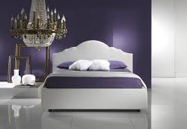 Black And Purple Bed Sets Lighting Ideas Classic Bedroom Crystal Chandelier Over White Bed