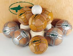 crafted bocce sets with painted balls by shopdog turnery