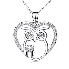 long owl pendant necklace images Owl jewelry 925 sterling silver mother child love jpg
