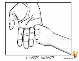 cool father day coloring hands of father and son tell other kids