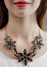 black neck necklace images Black bloom statement necklace happiness boutique jpg