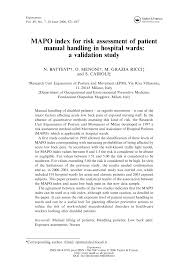 mapo index for risk assessment of patient manual handling in