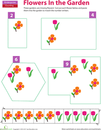 cut and paste counting flowers worksheet education com