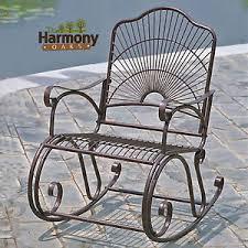 Metal Rocking Patio Chairs Rocker Wrought Iron Outdoor Patio Porch New Furniture Rocking