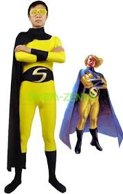 sentry costume black and yellow superhero custome with cape