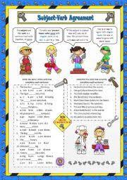 english teaching worksheets subject verb agreement