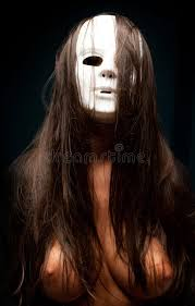 scary mask woman with white scary mask stock photo image of girl terrify