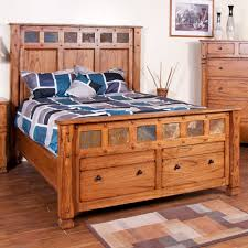 Platform Bed With Shelves Plans by Sedona Wood Platform Storage Bed In Rustic Oak Humble Abode