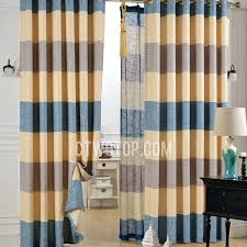Yellow Gray Curtains Linen Modern Simple Grey Blue Yellow Striped Curtains