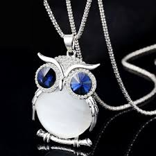 long owl pendant necklace images Crystal owl necklace charm jpg