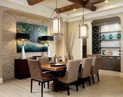minka lighting in dining room transitional with wine buffet next