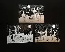 halloween art prints witches halloween greeting post cards dark