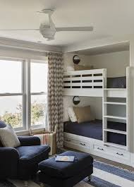 Chevron Navy Curtains Built In Bunk Beds With Nautical Wall Sconces Transitional