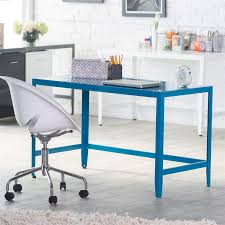 blue writing desk simple modern metal office desk in teal blue finish